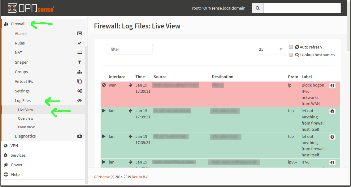 screenshot of opnsense firewall live view