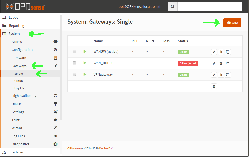 screenshot of opnsense gateways